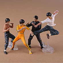 High Quality!!! 4PCS/Pack Cool Bruce Lee Kung Fu Master 9-12.5cm PVC Action Figure Collectible Toy Doll Christmas Gifts