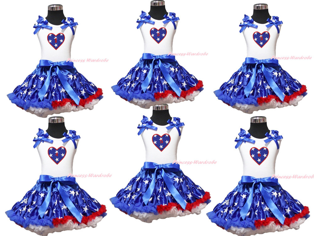 4th July Patriotic Star Heart Birthday 1ST 2ND 3RD Top Girl Skirt Outfit 1-8Year MAPSA0625<br>