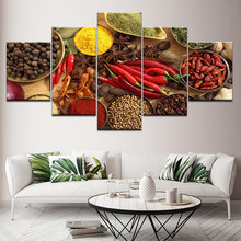 Home Decor Wall Art Framed Posters Prints 5 Panel Spoon Grains Spices Peppers Canvas Painting Kitchen Modular HD Food Picture(China)