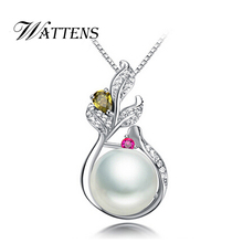 WATTENS Pearl Jewelry black white pearl pendant necklace for women Elegant freshwater pearl jewelry AAAA high quality with box
