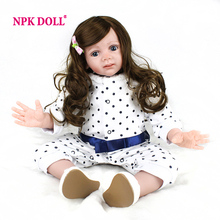 NPKDOLL 24 Inch 60 CM BeBe Reborn Toddler Realistic Girl Doll With Long Hair Wig Handmade Soft Silicone Baby Doll Gifts(China)