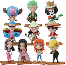 10pcs/lot ONE PIECE Luffy Zoro Nami Robin Chopper Sanji PVC Figure Dolls With Base 10cm Cute Mini Toy