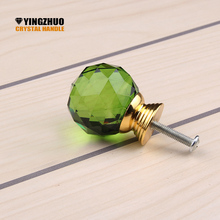 Kitchen Handles Hot 30mm 10pcs Multicolor Choose K9 Crystal Knobs Dresser Drawer Cabinet Door Handle Accessories Yz-3001-green
