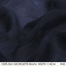 SILK GEORGETTE 114cm width 8momme/100% Natural Pure Silk Chiffon Brocade Fabric Sewing Tissus Dark Blue NO 43