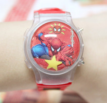 Big Value 1PC Spiderman Boy's Children Waterball LED Flashing Light Watches Cartoon Character Kids Digital Wristwatches Hot Sale