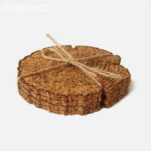 DUNXDECO 8PCS Vintage Creative Stump Style Natural Cork Coaster Tea Coffee Cup Mat Table Kitchen GadgetsHome Decoration Gift
