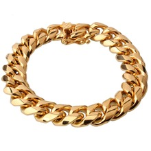 Hot Sale 15mm Cool Fashion High Quality Stainless Steel Pop Punk Rock Style Curb Chain Link Bracelet Men Jewelry(China)