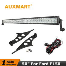 "Auxmart Led Light Bar for Ford F150 Raptor 2009~2014 Straight 5D 50"" 480W LED Driving Work Light Offroad Combo Beam Roof Bracket(China)"
