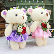 12Pcs/lot Cotton kid Toys Plush 12CM Doll Mini Joint Teddy Bear Flower Bouquets Wholesale For Wedding Roses Style Pendant Gift