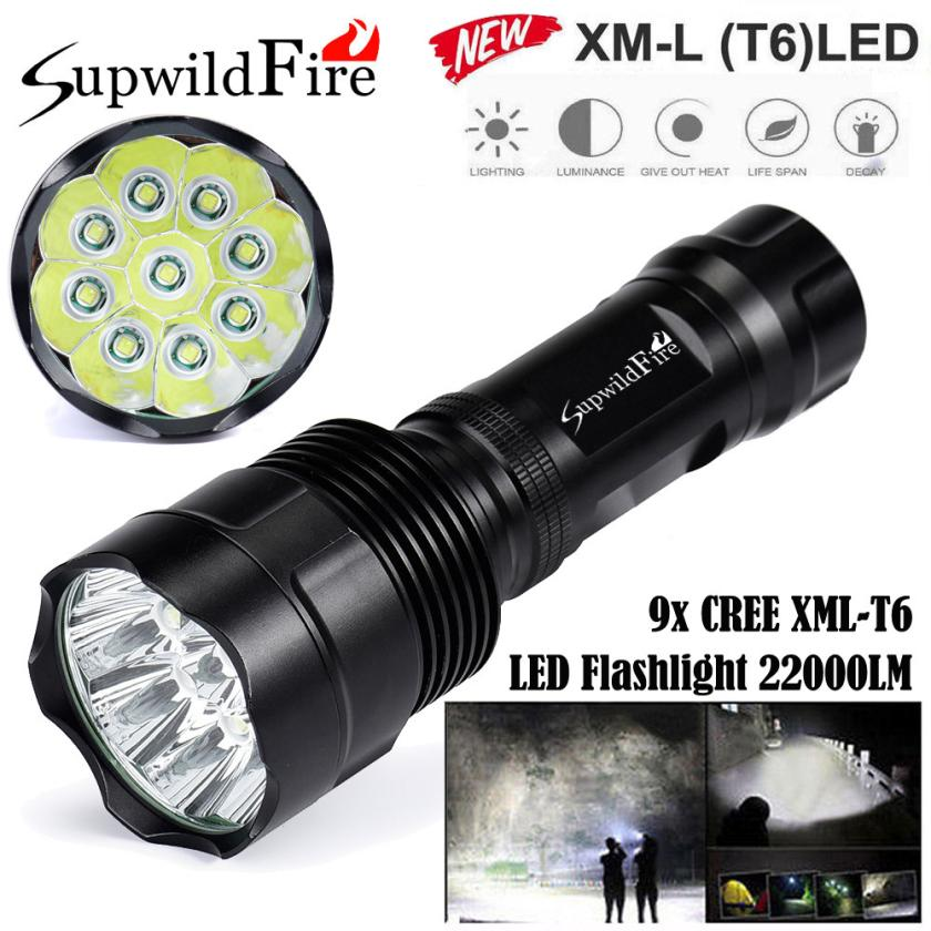 2017 NEW Super Bright 22000Lm 9x XM-L T6 LED 5-Mode 18650 Flashlight Torch Light Lamp S911<br>