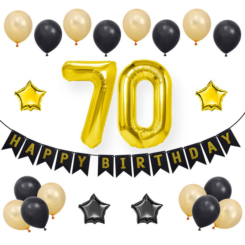 """2x 16/"""" Gold Happy Birthday Banner Foil Balloon Bunting Ballons with String"""