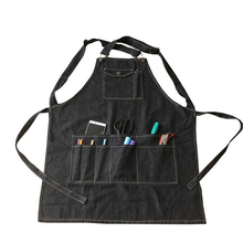 Unisex Black Cotton Denim Apron Kitchen Cooking Aprons With Pockets Barber Cafe Restaurant Work Aprons Pinafore