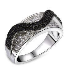 Nice Looking Cute Women Rings  Black & White CZ  Rhodium & Black Color Prong Setting AAA Quality CZ Fine Wedding Jewelry