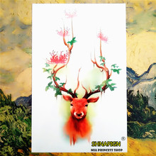 Buckhorn Flower Temporary Tattoo Body Art Sleeve Arm Flash Tattoo Stickers 12*20cm painless Henna selfie Tatoo tattoo stickers(China)