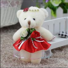 Mobile charm accessory teddy bear girls toys doll bouquets flower bear material mini model plush&stuff promotional gift 12cm
