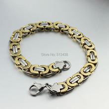 8.46'' Men's Stainless Steel Flat Chain-Link Bracelet Fashion Jewelry 8mm For Gifts silver Gold 2-Tone(China)