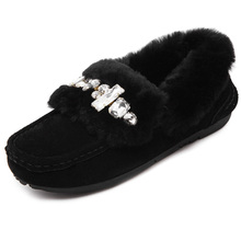 Women Genuine Fur+Real Rabbit Gross with Rhinestone Snow Boots Lady Shoes Winter Super Warm Fashion Snow Boots
