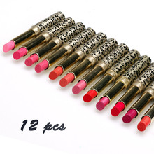 Professional 12Pcs/lot Makeup Lipstick Waterproof Cosmetic Lip Gloss Rouge Lips Matte Batom Moisturizer Red Lipsticks(China)