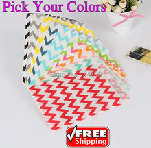 200pcs Pick Your Colors Thin Chevron Party Paper Favor Bags Pink Red Green Blue Gray Black Yellow,Zig Zag Candy Treat Gift Bag
