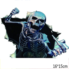 16*15 cm car styling Peep Fear Skull Car Sticker Motorcycle Decorative Car Window Deals Auto accessories(China)