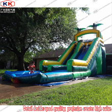 Inflatable Palm Tree Slide with Water Pool for Family / Inflatable Summer Water Slide