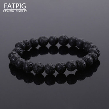 New Fashion Unisex  Black  Beaded Rock Elastic Bracelet Bangle GIFT Mens Retro Lava Stone  Free Shipping