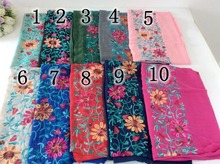 Embroidery Floral Shawl Scarves And Stoles  Muslim Head Scarf Hijab Cotton Shawl Tassels Women Scarf  bandana