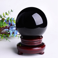 Fashion 80mm Black Obsidian Crystal Ball With Wood Base Ornaments Figurines Craft Luck Wealth Birthday Gift Home Office Decor