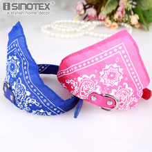 ISINOTEX Printed PU Leather Pet Collars Comfortable Durable Triangle Scarf Dog Collar Leather Adjustable Puppy Collar for Dogs(China)