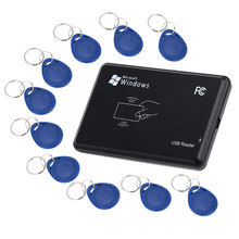 125Khz RFID Reader EM4100 USB Proximity Sensor Smart Card Reader for Access Control With 10 pcs Cards Key fobs