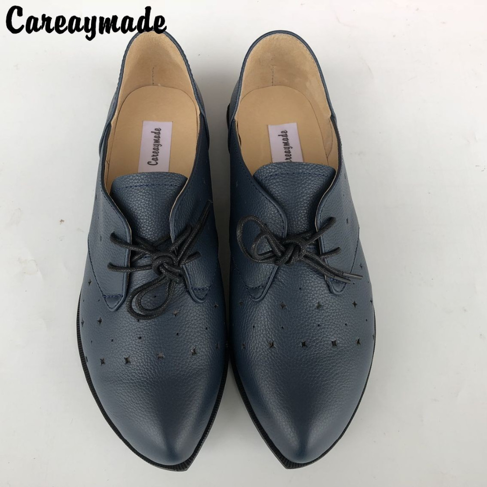 Careaymade-spring,Genuine leather shoes,Pure handmade flat shoes,Women the retro art mori girl shoes ,Hollow blue leather shoes<br>