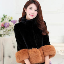 New Women faux fur coat Female autumn and winter warm jacket fashion girl Slim fox fur collar multicolor short paragraph clothes(China)