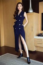 New Style Celebrity Fashion Summer Office Dress 2017 Women Notched Collar Double Breasted Belt Dark Blue Long Vest Dress Career
