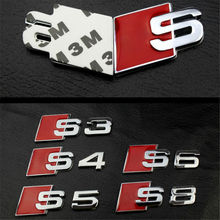 3D Tail Sticker S3 S4 S5 S6 S8 S Line Car Emblem Badge Logo Rear Tail Badge Sticker Logo for Audi CNYOWO