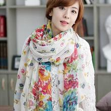 1PC Women Voile Scarf Long Print Floral Flowers Soft Chiffon Scarves Wrap Shawl Large Scarves Gift Comfortable Accessory Autumn