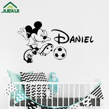Personalized Mickey Mouse Wall Decal Soccer Custom Name Boy Cartoon Vinyl Sticker Poster Nursery Art Decor Design Mural J17(China)