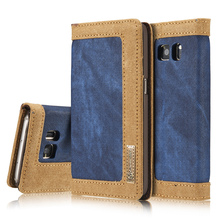 Magnetic Case For Samsung Galaxy S7 / S7 edge Leather Cases Flip Cover Luxury Jean Canvas Wallet Stand For Galaxy S6 / S6 edge
