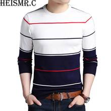 2017 New Men'S Wool Sweater Mens O-Neck Slim Fit Striped Casual Cashmere Sweaters Male Knitting Pullovers Male Band Clothes H124(China)