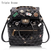 Triple Stone Leather Travel Women Backpack Luxury Brand Design Diamond Lattice Black Lady Shoulde Bag Fashion Chain Schoolbag