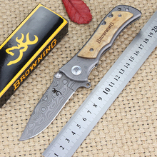 Browning 339 folding pocket knife 440C steel Damascus surface Multi tactical survival knife Outdoor Combat Utility hunting tool