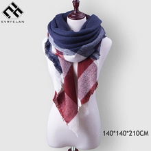 Winter Plaid Women's Scarf Brand Female Cashmere Shawl Fashion Winter Scarf For Women Warm Scarves Pashmina Blanket Scarf(China)