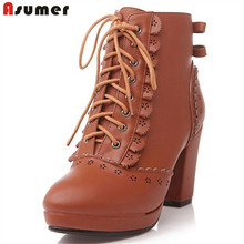 Asumer new arrive high quality lace up ankle boots for women thick high heels autumn boots brown pink women boots drop shipping