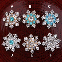25MM Christmas Bling Metal Crystal Alloy Mixed Colors Rhinestone Flatback Button 30pcs DDB01
