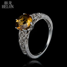 HELON 8MM Round Cut Citrine Ring Solid 14K White Gold Filigree Art Deco gemstone Engagement Wedding Ring For Women's Jewelry(China)