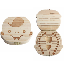 Creative Gift Wood Baby Girl Boy Tooth Organizer Boxes Save Deciduous Teeth Storage Keepsakes Collecting
