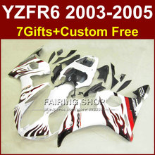 R6 bodywork for YAMAHA fairing kit 03 04 05 red flame in white fairings YZF R6 2003 2004 2005 Motorcycle sets GRE
