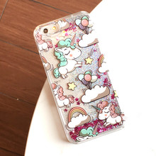 For iPhone 4 4s 5 5s 5c 6 6s 7 Plus X 8 Case Cover Lovely Unicorn Dynamic Liquid Bling Star Hard PC Phone Cases Capa Fundas