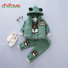 chifave New Baby Boys Girls Sets 3 pieces Winter Warm Hooded Bear Ears Kids Girls Boys Clothes Winter Sets Vest+Coat+Pant 2017(China)