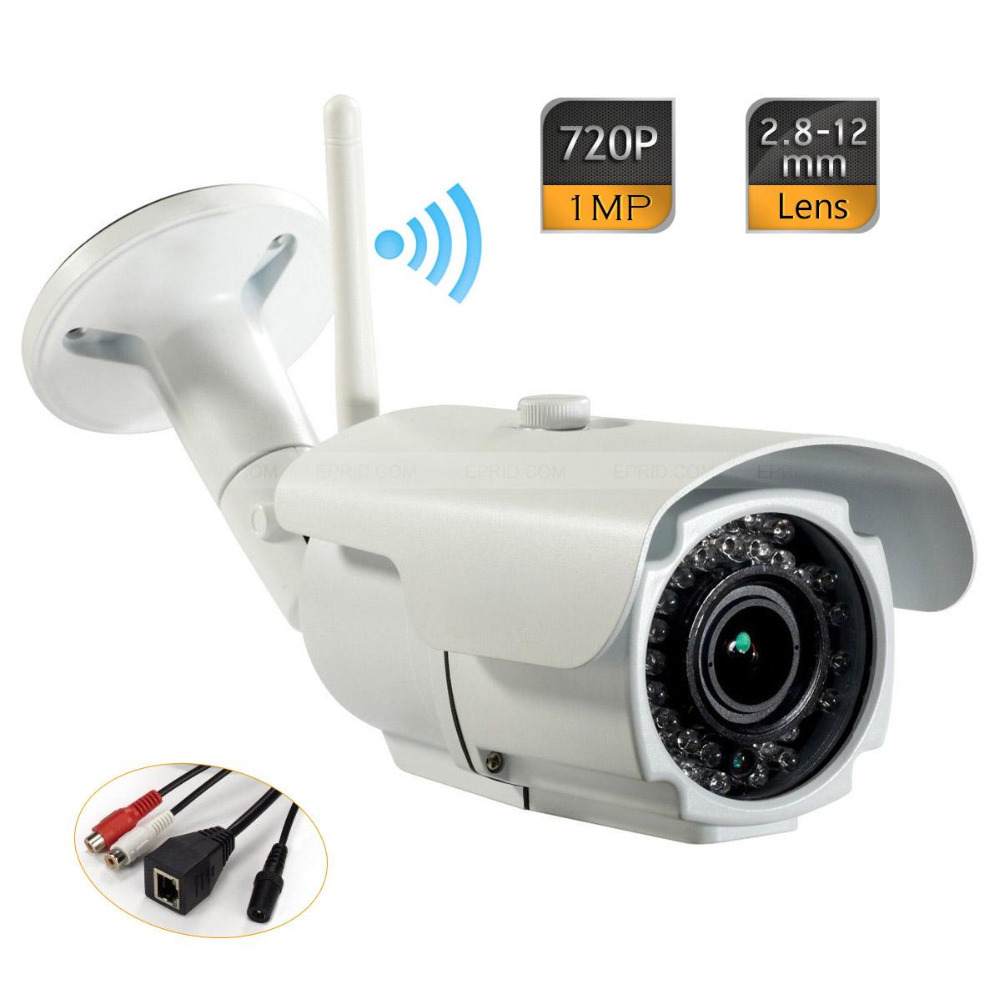 Wifi ONVIF P2P 2.8-12mm Waterproof Network IP Bullet Camera 720P Audio+12V1A<br><br>Aliexpress