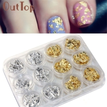 12PCS Nail Art Sticker Decoration Gold Silver Paillette Flake Chip Foil DIY Acrylic UV Gel Pager jan20